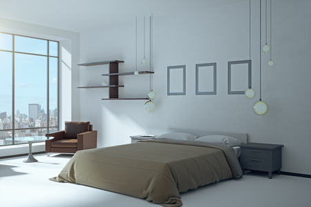 White bedroom interior with panoramic city view and daylight. 3D Rendering Archivio Fotografico - 108172696
