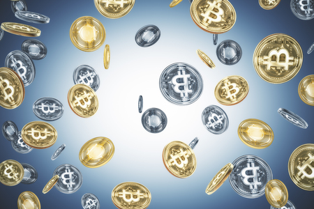 Creative glowing bitcoin rain on gray background. Cryptocurrency and e-business concept. 3D Rendering Archivio Fotografico - 108172709