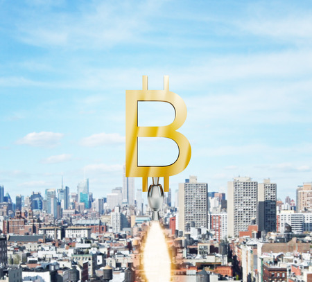 Abstract launching golden bitcoin on sky city background. Financial growth and e-commerce concept. 3D Rendering