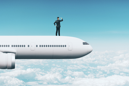 Abstract image of young businessman on airplane looking into the distance on sky background. Research and freedom concept. 3D Rendering