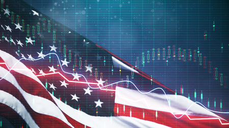 Creative american flag with forex chart on blurry background. USA economy and dollar concept. Double exposure