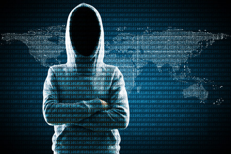 Hacker in hoodie standing on abstract binary code map background. Global criminal and hacking concept Stok Fotoğraf
