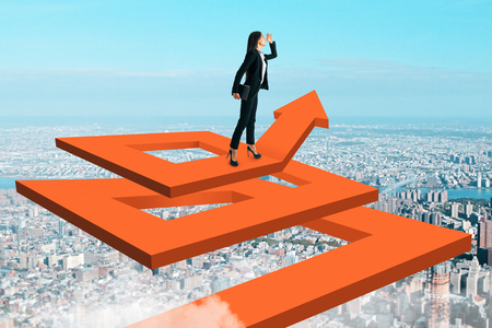 Businesswoman in sky on abstract maze arrow. Success and development concept. 3D Rendering