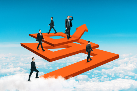 Businesspeople on abstract maze arrow. Teamwork and career concept. 3D Rendering Stock Photo