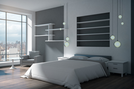 Concrete bedroom interior with panoramic city view and daylight. 3D Rendering