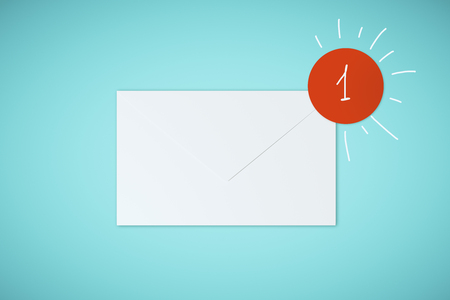 White app envelope on blue background. Communication and application concept. 3D Rendering Stock Photo