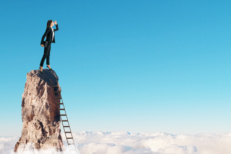 Businesswoman on cliff with ladder on sky background. Research and risk concept