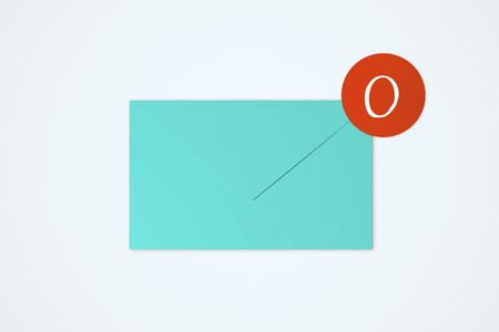 Blue app envelope on white background. Communication and application concept. 3D Rendering Stock Photo