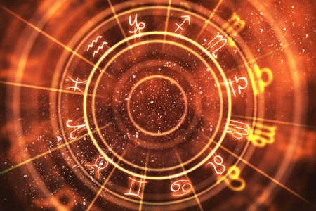 Abstract orange zodiac wheel background. Fortune telling and luck concept. 3D Rendering Banco de Imagens