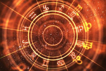 Fondo naranja abstracto de la rueda del zodiaco. Concepto de adivinación y suerte. Representación 3D
