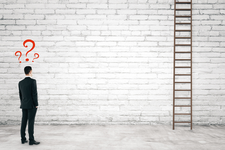 Businessman with ladders on brick wall background. Career development and lost concept. 3D Rendering Stock Photo