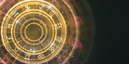 Fondo ambrato astratto della ruota dello zodiaco. Cartomanzia e concetto di fortuna. Rendering 3D