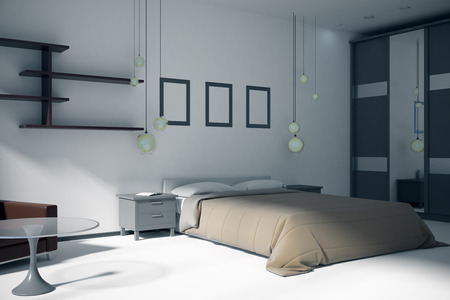 White bedroom interior with furniture and sunlight. 3D Rendering Standard-Bild - 108173370
