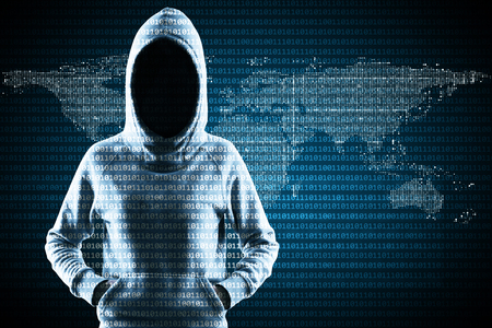 Hacker in hoodie standing on abstract binary code map background. Global criminal and malware concept Stok Fotoğraf - 108173377