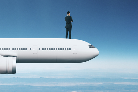 Abstract image of young businessman on airplane looking into the distance on sky background. Research and travel concept. 3D Rendering Stock Photo