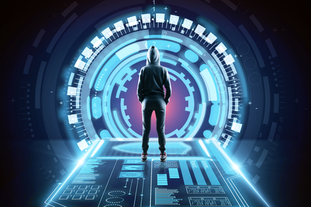 Back view of young hacker in abstract space tunnel interior. 3D Rendering