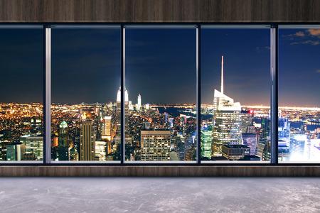 Interior de la oficina moderna con vista a la ciudad de noche brillante. Representación 3D