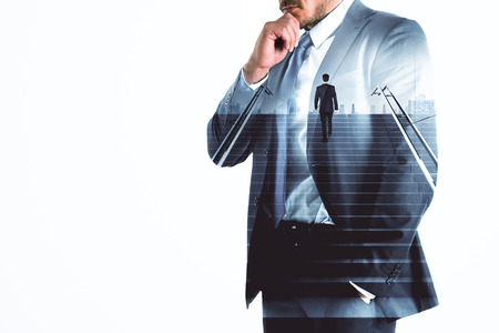 Businessman walking up the stairs on abstract city background with white copy space. Leadership and growth concept. Double exposure