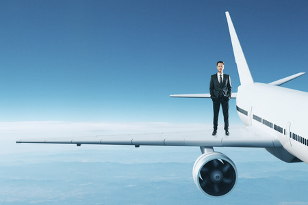 Front view of young businessman standing on airplane wing on abstract sky background. Leadership and pilot concept. 3D Rendering