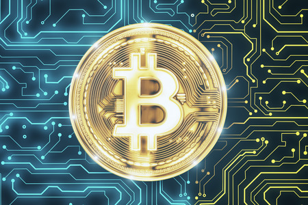 Creative circuit golden bitcoin on blue background. Cryptocurrency and finance concept. 3D Rendering