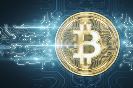 Creative circuit golden bitcoin on blue backdrop. Cryptocurrency and finance concept. 3D Rendering Stok Fotoğraf