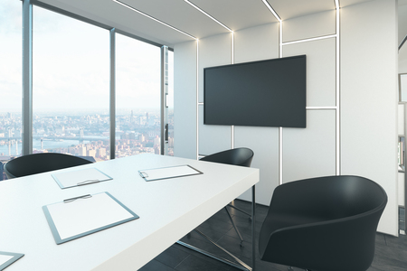 Modern meeting room interior with panoramic city view and empty banner on wall. Presentation concept. Mock up, 3D Rendering