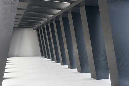 Dark concrete tunnel interior. Futuristic design and accomodation concept. 3D Rendering 스톡 콘텐츠