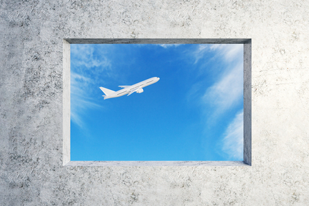 Concrete wall with window and flying airpane on sky background view. Travel and transport concept. 3D Rendering