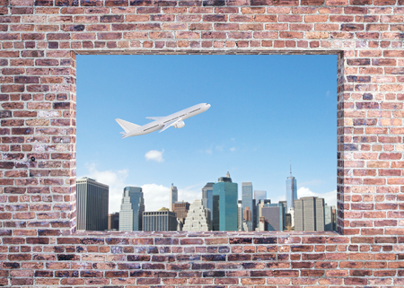 Brick wall with window and flying airpane on sky and city background view. Travel and vacation concept. 3D Rendering