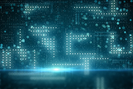 Creative blurry circuit background. Technology and computing concept. 3D Rendering Stock Photo