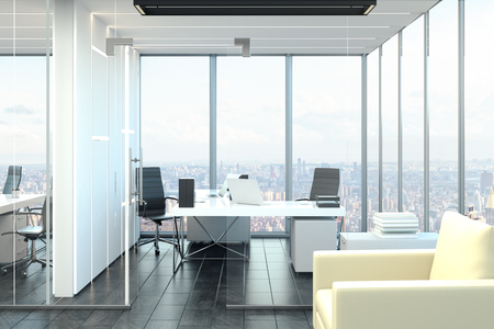 Clean office interior with panoramic city view and furniture. 3D Rendering Stock Photo