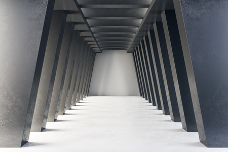 Abstract concrete tunnel interior. Futuristic design and accomodation concept. 3D Rendering