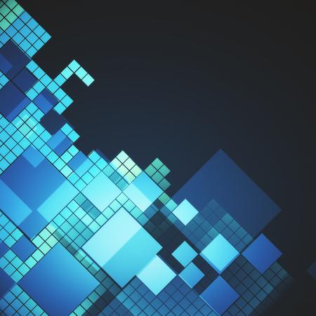 Creative digital square background. Web design concept. 3D Rendering 写真素材