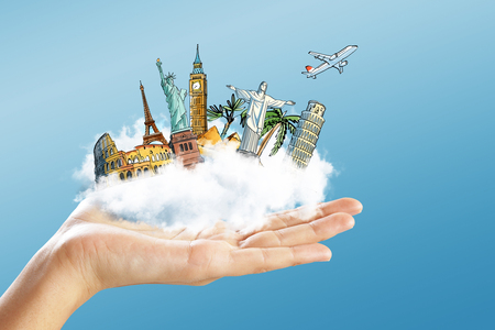 Creative illustration of hand holding abstract vacation sketch on cloud. Travel and holiday concept