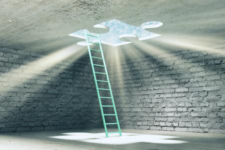 Abstraktes Backsteingefängnisinneres mit Leiter und fehlendem Puzzle-Ausweg mit Sonnenlicht. Herausforderung und Freiheitskonzept. 3D-Rendering