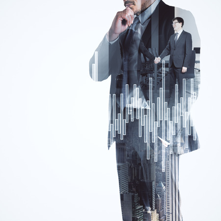 Businessman standing on white city background with handshake and forex chart. Investment and teamwork concept. Double exposure
