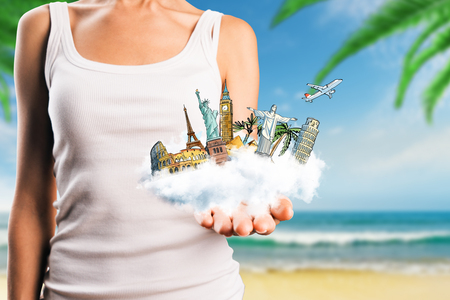 Creative illustration of hand holding abstract vacation sketch on cloud. Travel and trip concept Stock Photo