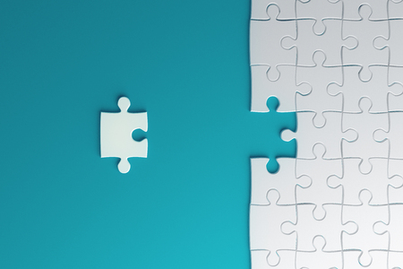 Creative blue missing puzzle background. Jigsaw and challenge concept. 3D Rendering Imagens