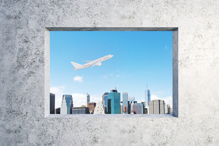 Concrete wall with window and flying airpane on sky and city background view. Travel and transport concept. 3D Rendering Stock fotó
