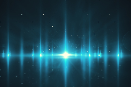 Creative glowing blue backdrop. Cosmos and space concept. 3D Rendering
