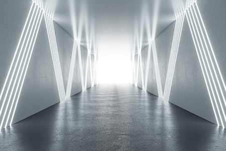 Modern illuminated hallway interior. 3D Rendering