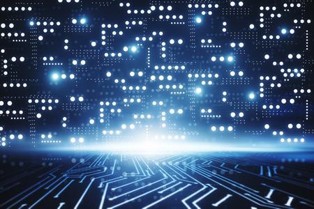 Abstrakt glühender Schaltungschiphintergrund. Computer- und Technologiekonzept. 3D-Rendering Standard-Bild