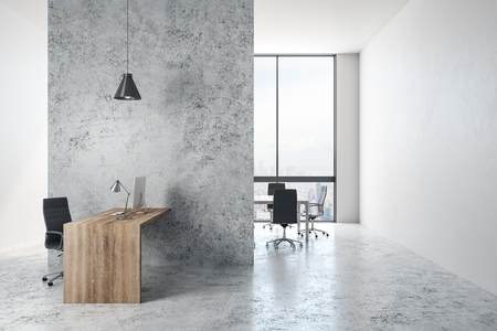 Gray concrete office interior with panoramic New York city view and daylight. 3D Rendering