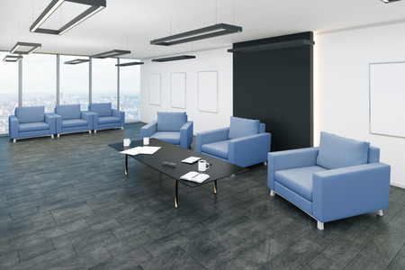 Light office waiting area interior with panoramic city view, comfortable armchairs and coffee tables. 3D Rendering