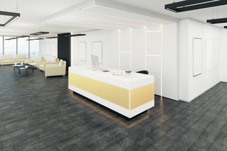 Clean office lobby interior with reception desk. 3D Rendering
