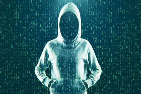 Front view of hacker with hood on abstract binary code background. Attack and virus concept. Double exposure Stock fotó
