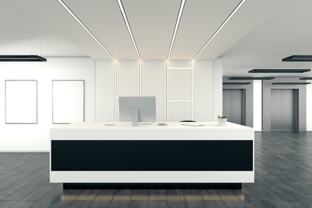 Modern office interior with reception desk. Lobby concept. 3D Rendering 스톡 콘텐츠