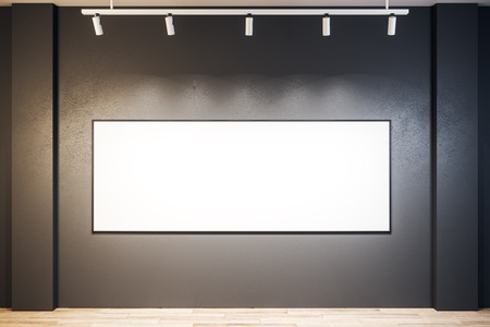 Modern exhibition hall interior with empty poster on wall. Mock up, 3D Rendering