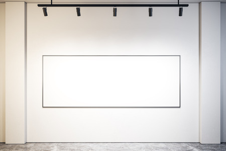 Modern exhibition hall interior with empty banner on wall. Mock up, 3D Rendering Фото со стока