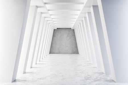 White concrete tunnel interior. Futuristic design and accomodation concept. 3D Rendering Stock Photo